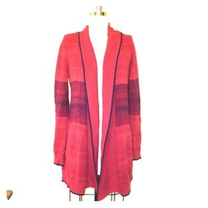 Red and blue cardigan
